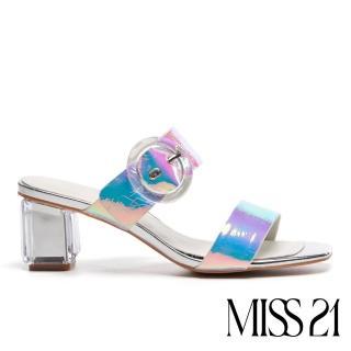 【MISS 21】迷人海洋風大圓釦設計方頭粗跟涼鞋(幻彩)