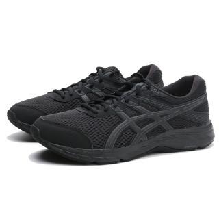 【asics 亞瑟士】休閒鞋 慢跑鞋 GEL-CONTEND 6 全黑 網布 4E 寬楦 輕量 情侶鞋 男女(1011A666002)