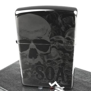 【Zippo】美系~Sons Of Anarchy-混亂之子骷髏-4面連續雷射雕刻打火機