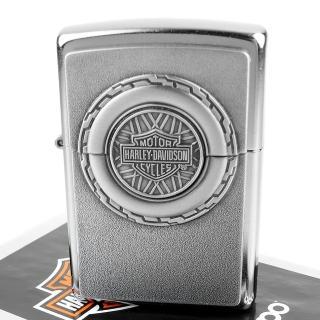 【Zippo】美系~哈雷~Harley-Davidson-車輪引擎立體圖案貼飾打火機