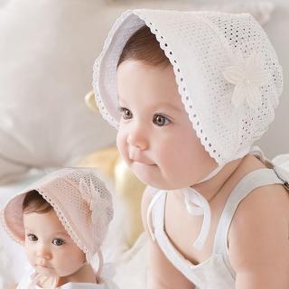【橘魔法】簍空蕾絲花朵遮陽帽 帽子 盆帽 圓帽 防曬帽(橘魔法 兒童 嬰兒 小童 花童 公主 周歲拍照 滿月)
