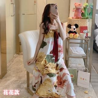 【NEW FORCE】冰絲棉柔前綁帶寬鬆睡裙-6花色可選(大尺碼/居家服/睡衣/家居服)