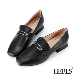 【HERLS】樂福鞋-全真皮金屬方釦方頭低跟樂福鞋(黑色)
