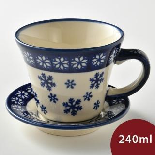 【波蘭陶】雪白冰花系列 寬口茶杯杯盤組 240 ml 波蘭手工製