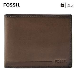 【FOSSIL】Allen 真皮RFID防盜證件格零錢皮夾-深棕色 SML1548201