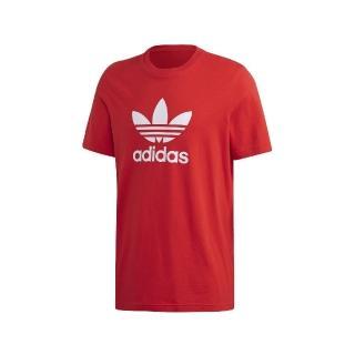【adidas 愛迪達】T恤 Trefoil Tee 運動休閒 男款 愛迪達 三葉草 LOGO 圓領 棉質 穿搭 紅白(FM3791)