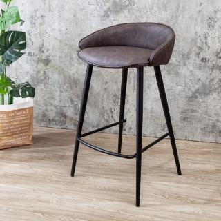 【BODEN】威特工業風皮革吧台椅/吧檯椅/高腳椅(高-二入組合)