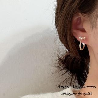 【Anpan】韓東大門925銀耳針式蝴蝶結環圈水鑽珍珠耳環