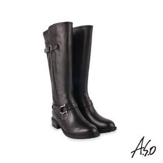 【A.S.O 阿瘦集團】時尚流行質感真皮飾釦長靴(黑)