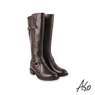 【A.S.O 阿瘦集團】時尚流行質感真皮飾釦長靴(咖啡)