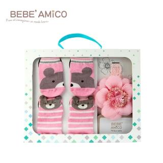【BEBE Amico】童話襪+髮帶禮盒-甜心粉