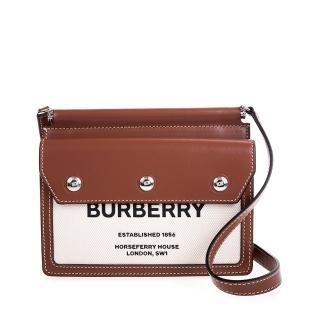 【BURBERRY 巴寶莉】新款迷你 Horseferry 印花口袋細節 Title 斜背包(棕色)