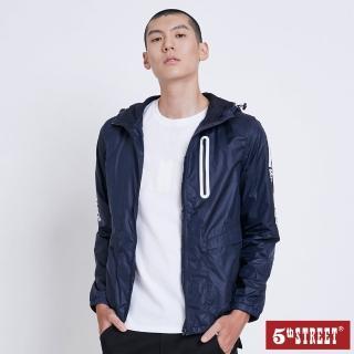 【5th STREET】男抗UV文字印花外套-丈青