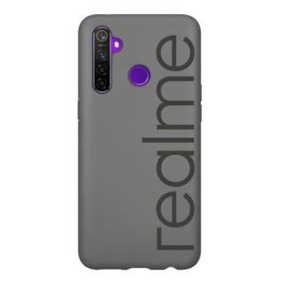 【realme】Realme 5 Pro 原廠經典LOGO矽膠保護殼 灰(台灣公司貨)