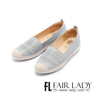 【FAIR LADY】Soft Power軟實力 圖騰縷空草編厚底樂福鞋(淺藍、502088)