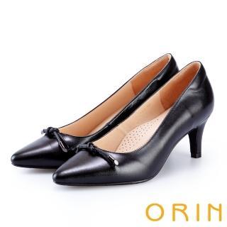 【ORIN】典雅平結尖頭羊皮高跟鞋(黑色)