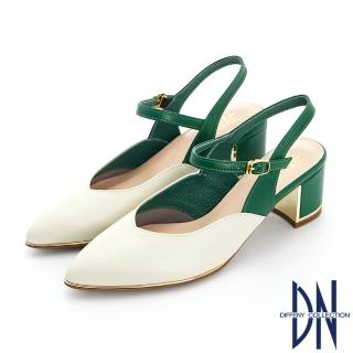 【DN】跟鞋_ MIT雙色拼接牛皮繫帶金屬邊尖頭跟鞋(米)