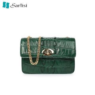 【Sarlisi】新款鱷魚皮女包真皮時尚鏈帶單肩包女士斜背包小方包