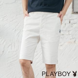 【PLAYBOY】織帶裝飾LOGO繡花短褲(白色)