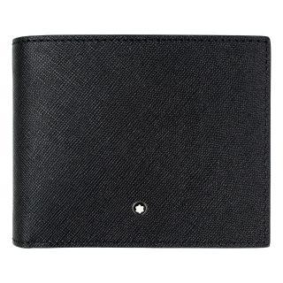 【MONTBLANC 萬寶龍】十字紋牛皮10卡視窗短夾-黑(113210)