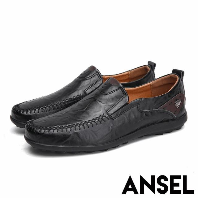 【ANSEL】真皮舒適軟底手工縫線紳士樂福鞋-男鞋(黑)/