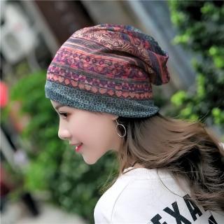 【89 zone】法式優雅透氣棉紗薄款套頭防風/頭巾帽(紅)