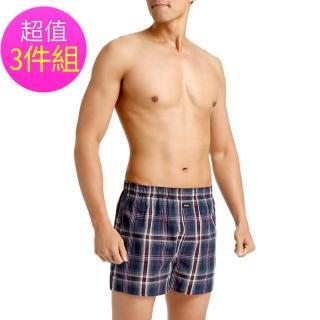 【三槍牌】純棉型男平織棉四角褲(隨機取色-3件組)