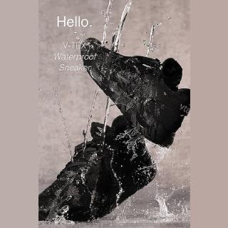 【V-TEX】時尚針織耐水鞋防水鞋 地表最強耐水透濕鞋 - Hello #黑色(男)