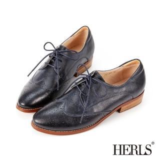 【HERLS】牛津鞋-全真皮翼紋雕花擦色德比鞋牛津鞋(藍黑色)