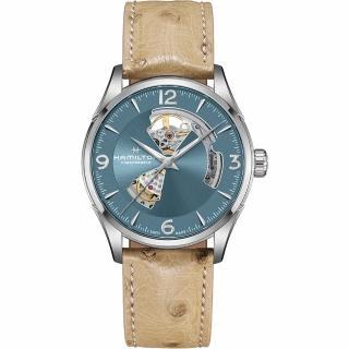 【HAMILTON 漢米爾頓】爵士開芯機械手錶-湖水藍x卡其皮帶(H32705842)