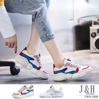 【J&H collection】韓版爆款百搭小熊厚鞋底老爹鞋(現+預  白色 / 紅色)