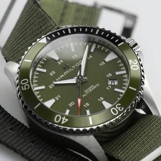 【HAMILTON 漢米爾頓】卡其海軍機械錶-綠帆布/40mm(H82375961)