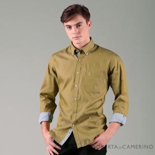 【ROBERTA 諾貝達】進口素材 台灣製 合身版 獨特魅力 純棉仿牛仔長袖襯衫(土黃)