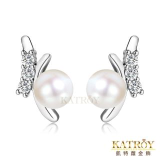 【KATROY】天然珍珠 925純 唯美珍珠 3.5 - 4.0  mm 白珍珠  耳針式耳環 FG9084(銀色款)