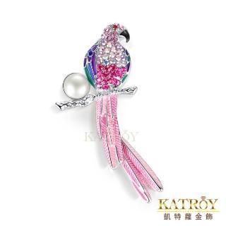 【KATROY】天然珍珠胸針 10.0-10.5 mm 鸚鵡 胸針別針 DA08008(二色任選)