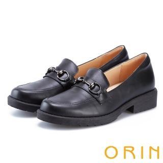 【ORIN】復古金屬馬銜釦樂福粗低跟鞋(黑色)