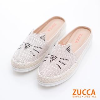 【ZUCCA&bellwink】碎鑽貓咪印平底拖鞋z6803we-白色