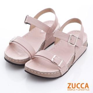 【ZUCCA&bellwink】車縫皮革扣環厚底涼鞋z6815pk-粉色
