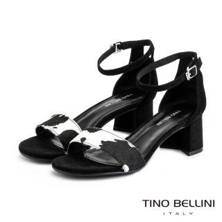 【TINO BELLINI 貝里尼】馬毛乳牛紋後包中跟涼鞋TF9102(黑)
