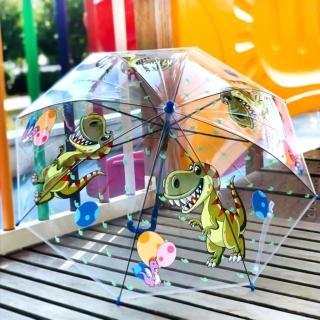 【小花園】恐龍 可愛 卡通 透明 兒童雨傘 自動傘(抗彎傘骨)