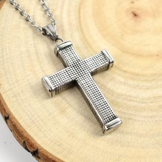 【men life】十字架項鍊 鋼製立體滿版格紋(鋼鍊)