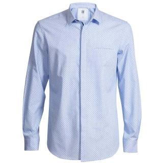 【CR7 CRISTIANO RONALD 西羅】Slim Fit 印花小黑圓點配直條藍白紋底襯衫(8640-72-315)