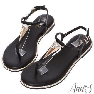 【Ann'S】埃及皇后-金色三角水鑽T字寬版平底涼鞋(黑)