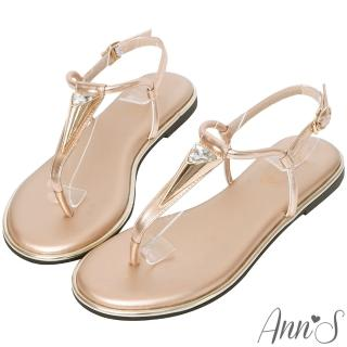 【Ann'S】埃及皇后-金色三角水鑽T字寬版平底涼鞋(玫瑰金)