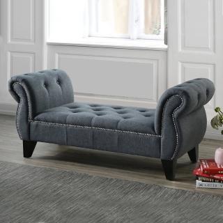 【AT HOME】歐式輕奢華深灰布實木腳沙發椅凳/長凳/貴妃椅/床尾椅(貝尼尼)