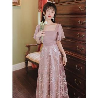 【Sexy Devil】法式復古溫柔方領粉紫網紗刺繡洋裝S-L