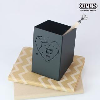 【OPUS 東齊金工】歐式鐵藝星空筆筒/辦公文具/筆架/桌上整理收納(PE-ce22B 星空_經典黑)