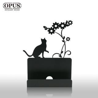 【OPUS 東齊金工】歐式鐵藝名片座/高級名片架/會展用品/金屬商務名片盒(CA-ca02B 貓咪_經典黑)