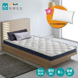 【Mr.BeD 倍得先生】Mini真空壓縮獨立筒薄墊 厚度10cm 單人(送 MIT日式透氣舒眠枕)