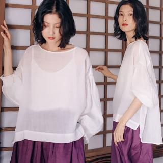 【設計所在】100支苧麻罩衫輕薄透氣白色防曬衣寬鬆長袖T恤 S9409(S-L可選)